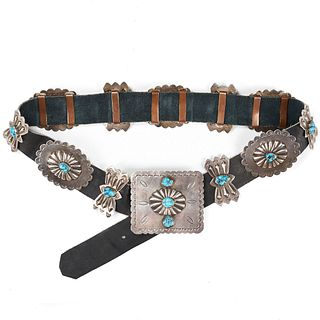 Native American Sterling Turquoise Concha Belt
