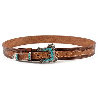 Navajo Sterling Turquoise Buckle & Leather Belt