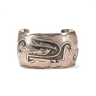 Native American Silver Overlay Cuff Bracelet