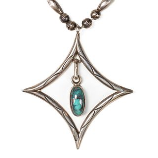 Navajo Silver Turquoise Necklace - Monet