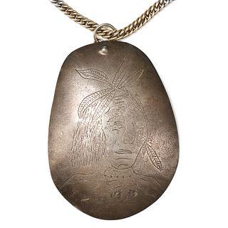 Native American Trade Silver Necklace