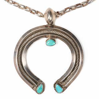 Navajo Naja Turquoise Silver Necklace