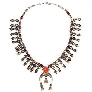 Silver Squash Blossom Coral Bean Necklace
