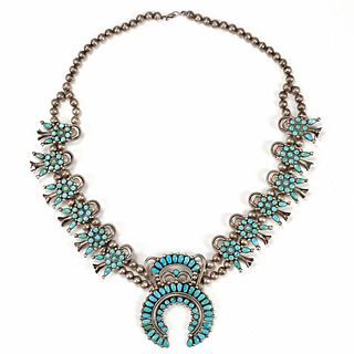 Native American Sterling Squash Blossom Necklace