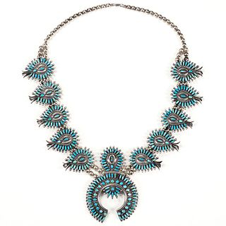 Wilford Begay Silver Squash Blossom Necklace