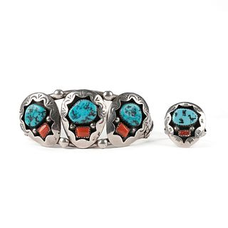 Teddy Goodluck Sterling Turquoise Ring & Bracelet