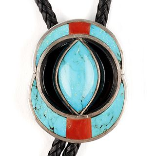 Zuni Sterling Turquoise Bolo Tie