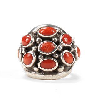 Cipriano Romero Silver & Red Coral Ring