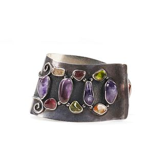 H. Fred Skaggs Silver & Colored Stone Cuff