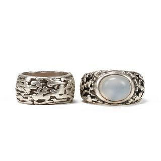 Grp: 2 H. Fred Skaggs Sterling Rings - Moonstone