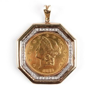 14K Gold & Diamond 1889-S $20 Liberty Head Coin