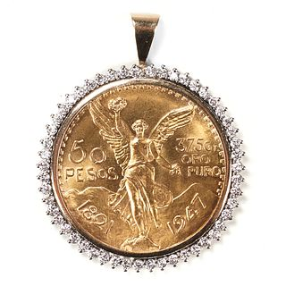 1947 Fifty Peso Coin & Diamond Pendant