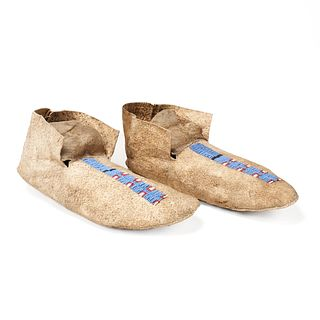 Pair of Plains Beaded Hide Moccasins Stripe