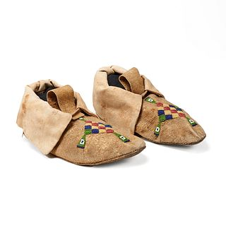 Pair of Plains Beaded Hide Moccasins Diamond