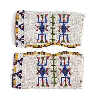 Plains Native American Beaded Hide Cuffs