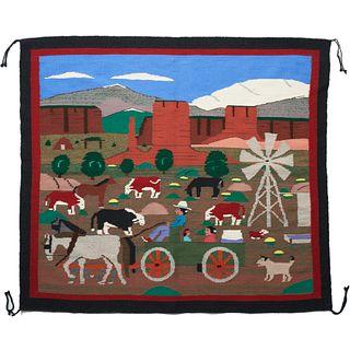 Pictorial Navajo Rug Blanket Weaving Farm Scene