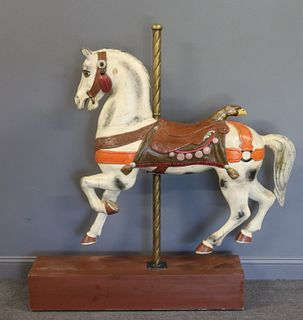 Antique Carved & Painted Carousel Horse With Eagle