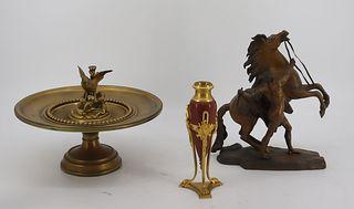 3 Antique Bronze Cabinet Items .
