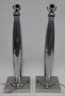 Pair Of Alluminium Art Deco Style lamps