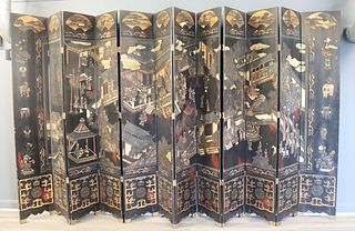 ASIAN Black Lacquer 12 Panel Screen.