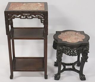 2 Antique Carved Chinese Hardwood Stands