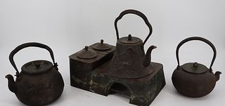 3 Antique Chinese / Japanese Iron Teapots