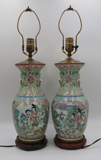 Pr of Chinese Famille Rose Enamel Decorated Lamps.