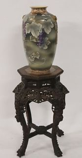 Antique Chinese Carved Stand and Satsuma Vase.