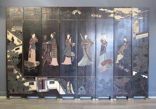Antique 8 Panel Chinese Coromandel Lacquered