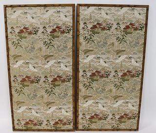 Vintage Pair Of Asian Silk Embroideries.