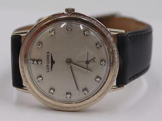 JEWELRY. Longines 14kt Gold and Diamond Watch.
