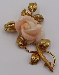 JEWELRY. 18kt Gold and Angel Skin Coral Brooch.