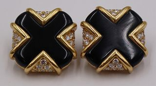 JEWELRY. Pair of Signed 18kt Gold Onyx and Diamond