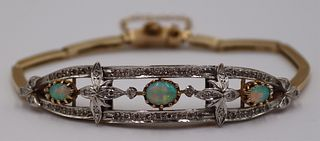 JEWELRY. 14kt Gold, Opal, and Diamond Bracelet.
