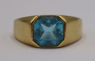 JEWELRY. 14kt Gold and Blue Faceted Gem Cocktail