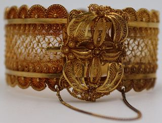 JEWELRY. 21kt Gold Dutch Filigree Bracelet.