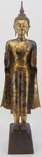 Tibetan Gilt Bronze Standing Buddha.