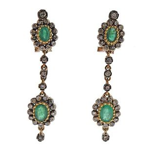 Continental 18K Gold Silver Diamond Emerald  Earrings