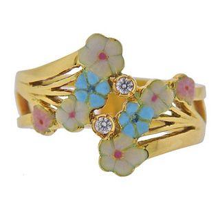 18K Gold Diamond Floral Enamel Ring