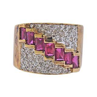 14K Gold Diamond Ruby Half Band Ring
