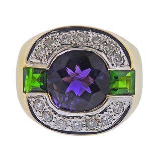18K Gold Diamond Amethyst Tourmaline Ring