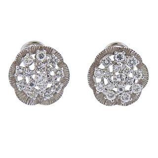 18K Gold 1.20ctw Diamond Floral Earrings