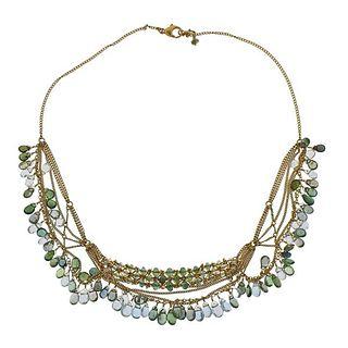 18K Gold Briolette Tourmaline Aquamarine Necklace