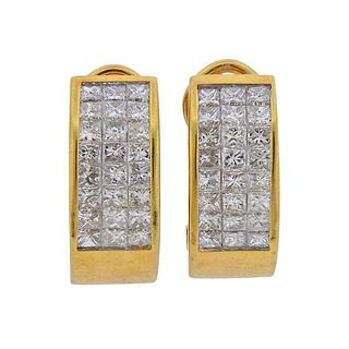 18K Gold Diamond Half Hoop Earrings