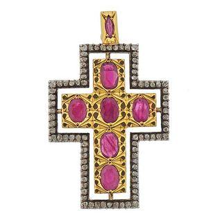 18K Gold Silver Diamond Ruby Cross Pendant
