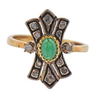 Continental 18K Gold Silver Diamond Emerald Ring