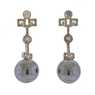 18K Gold Platinum Diamond Hematite Earrings