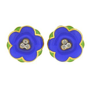 18K  Gold Diamond Enamel Flower Earrings