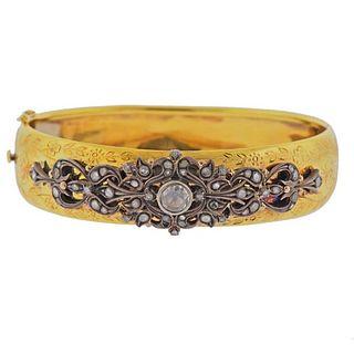 Continental 18k Gold Silver Rose Cut Diamond Bracelet