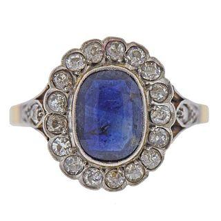 Art Deco 18k Gold Platinum Synthetic Sapphire Diamond Ring